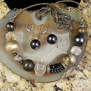 Boho dark silver necklace & earring set GUC